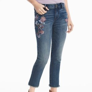 WHBM Floral Embroidery Print Straight Jeans Crop